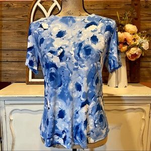 Anne Klein Blue Watercolor Floral Top Med NWT